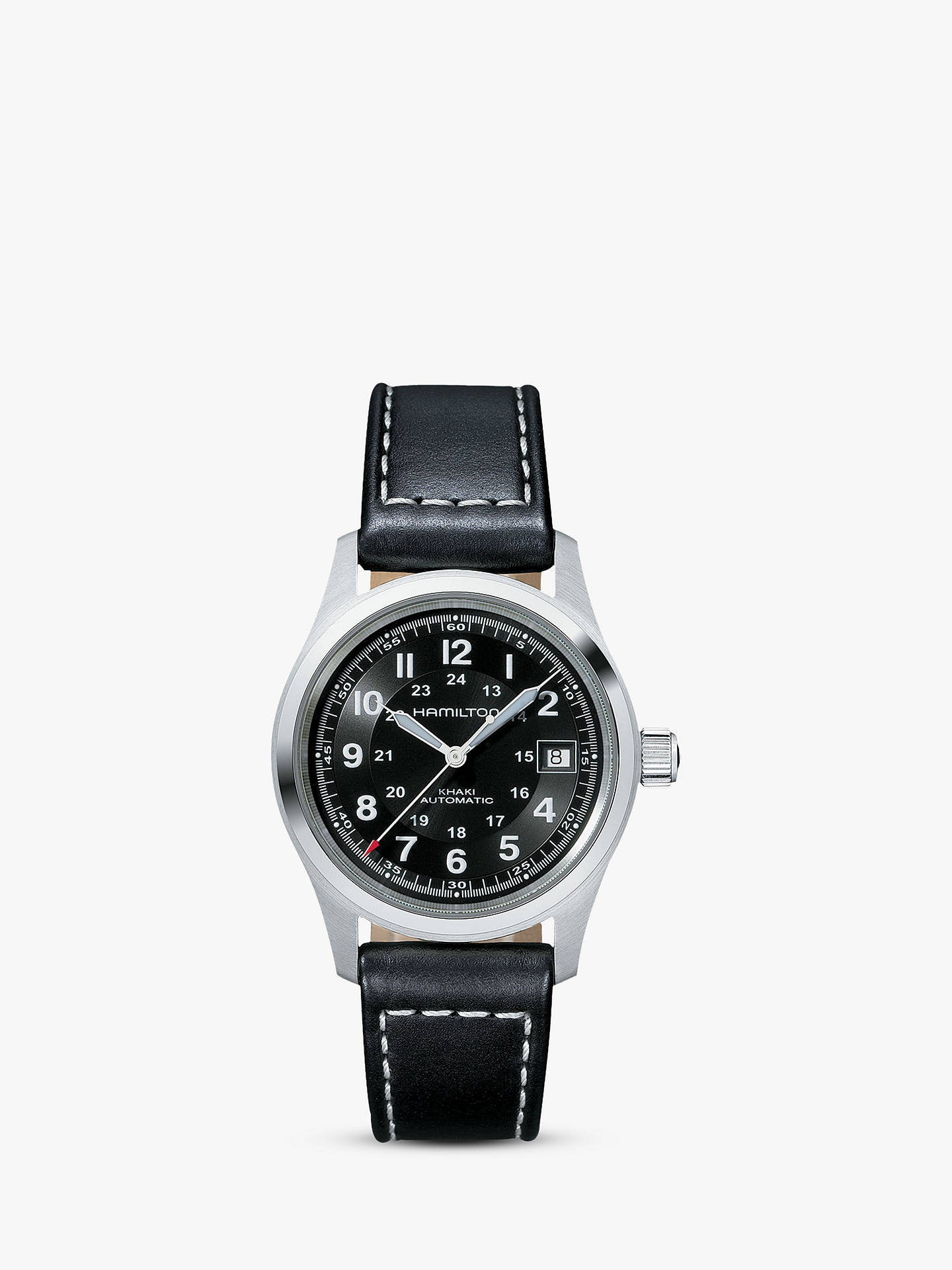 BuyHamilton H70455733 Men's Khaki Field Automatic Date Leather Strap Watch,  Black Online at johnlewis.