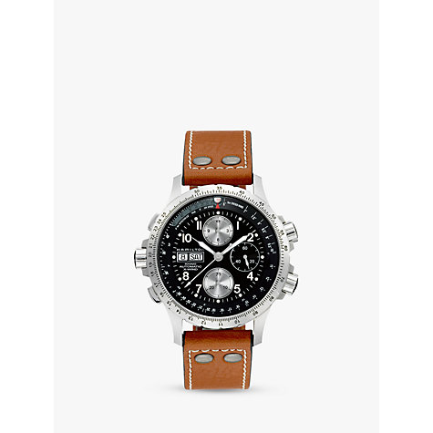 automatic or self winding men s watches john lewis buy hamilton h77616533 men s khaki x wind day date chronograph leather strap watch tan