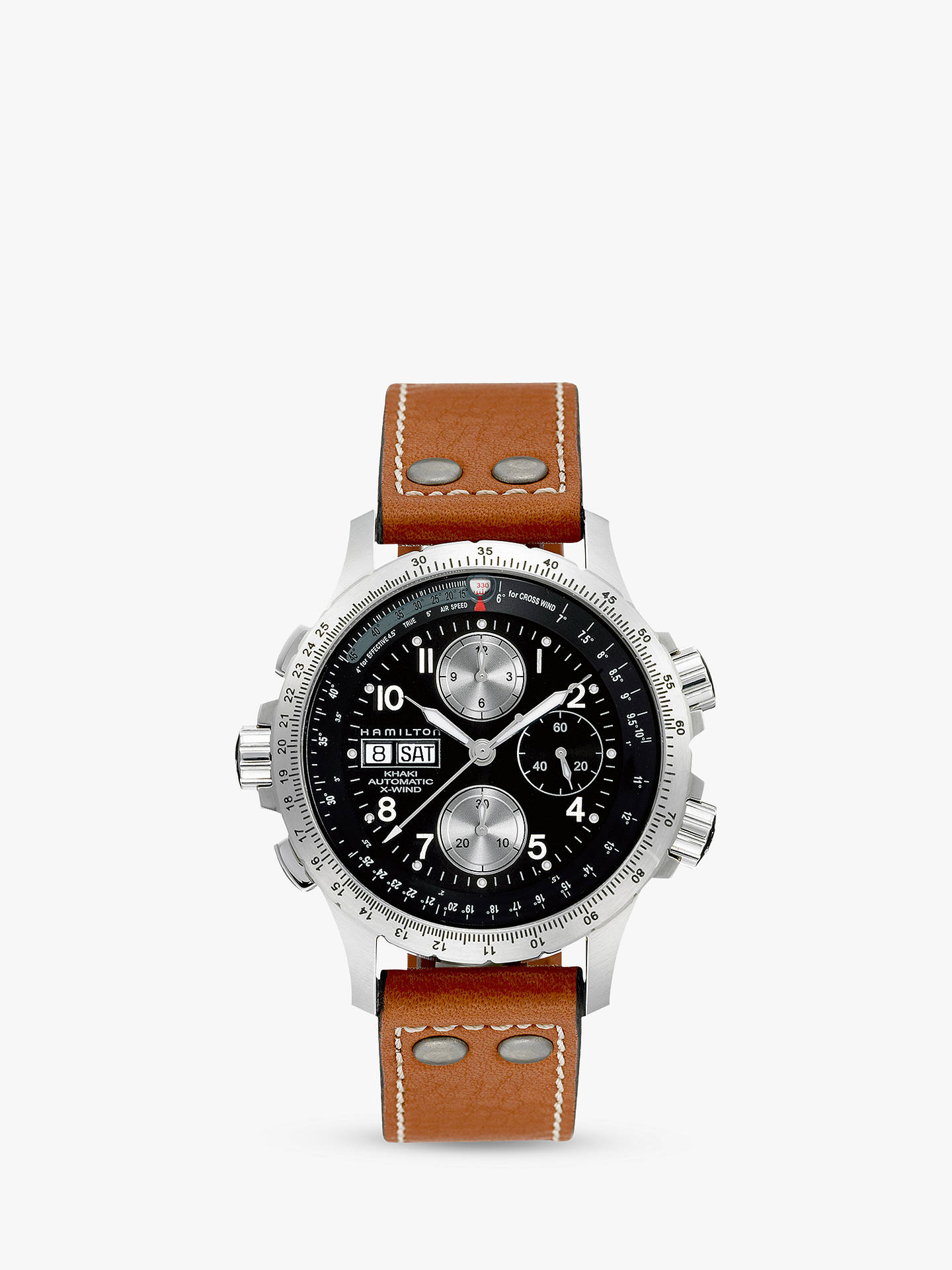 27977291c05 Buy Hamilton H77616533 Men s Khaki X-Wind Day Date Chronograph Leather  Strap Watch