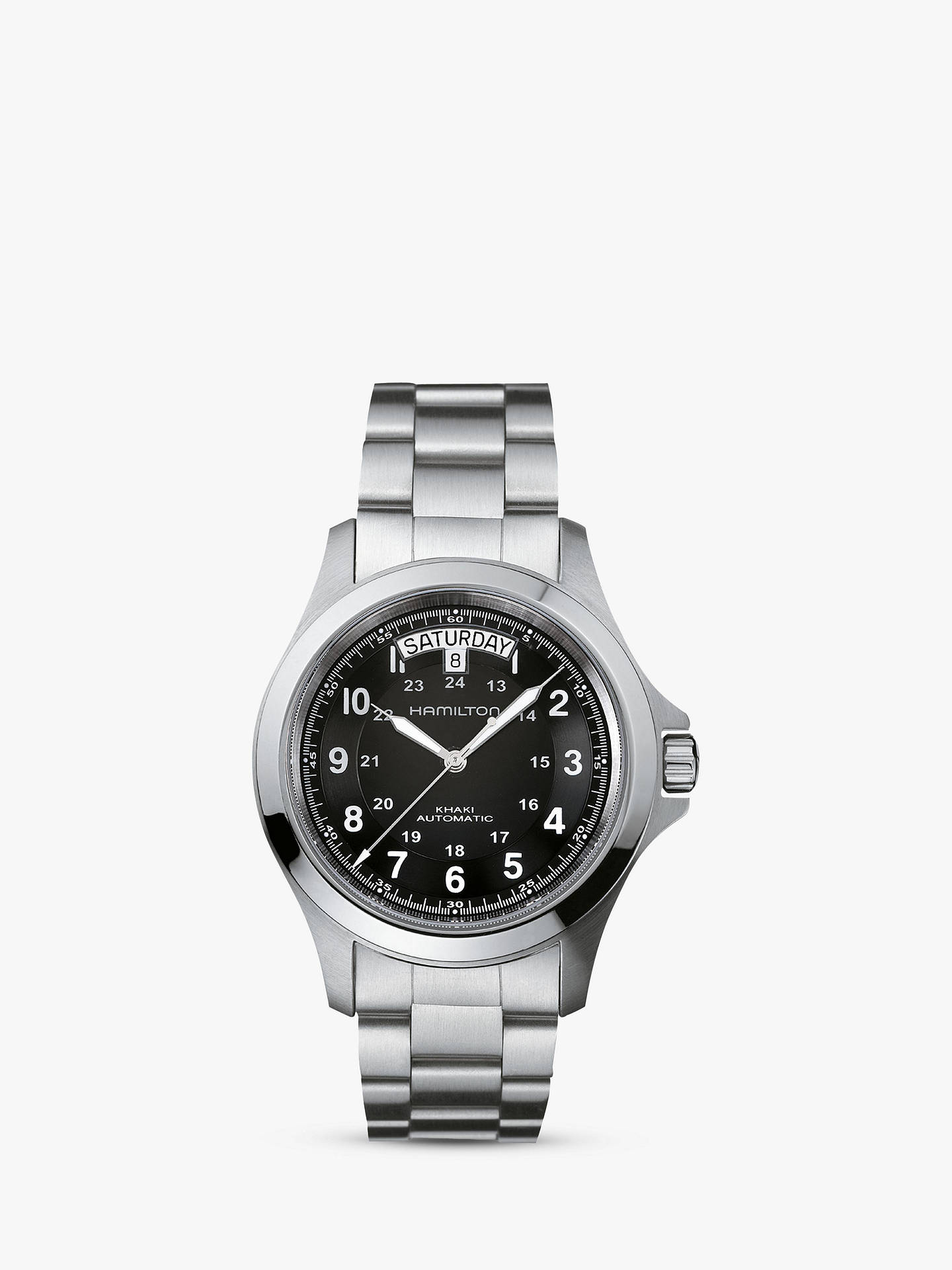4cae0ec3c8 Buy Hamilton H64455133 Men s Khaki Field King Automatic Day Date Bracelet  Strap Watch