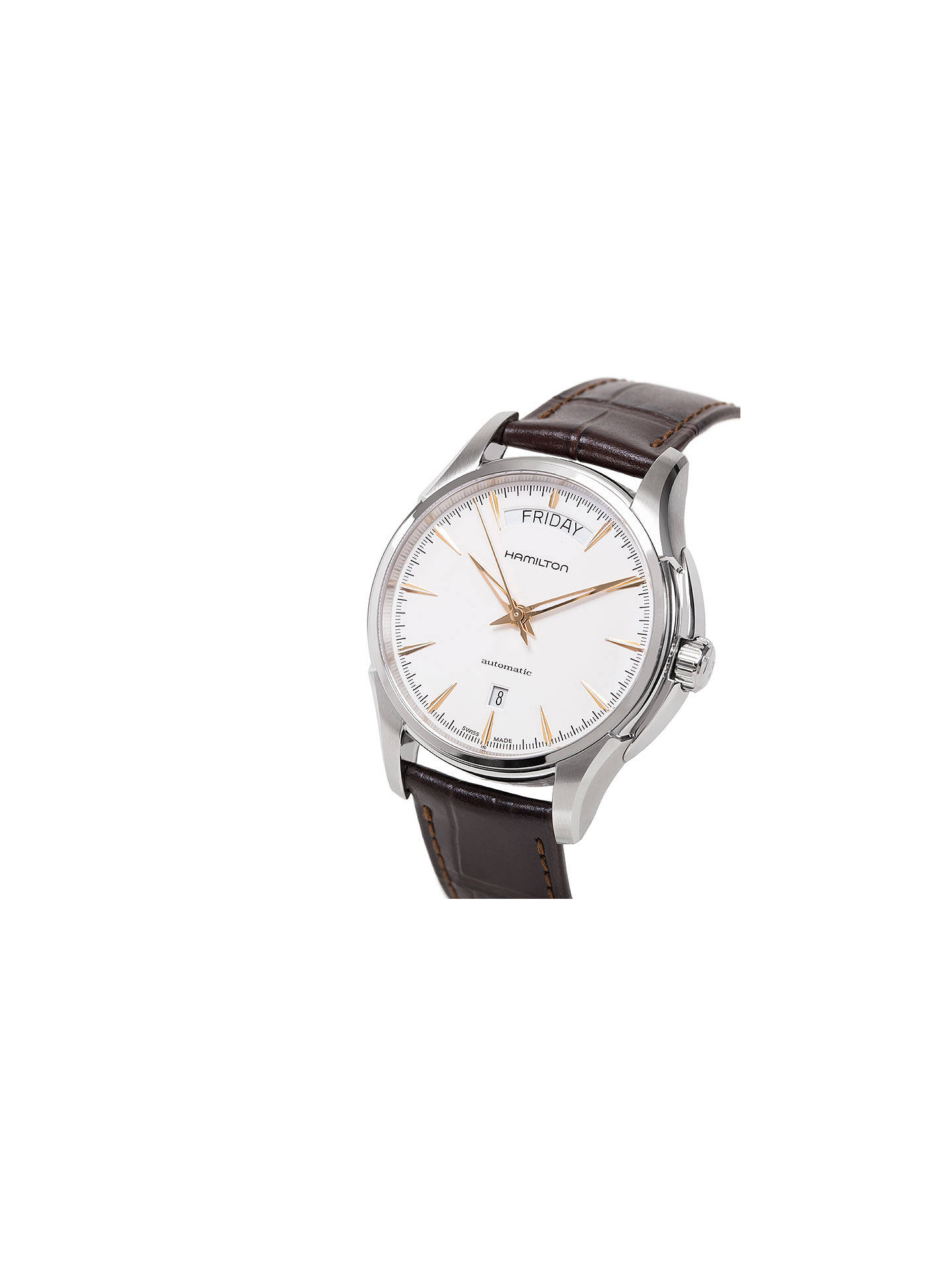 Hamilton H32505511 Men S Jazzmaster Automatic Day Date Leather Strap Watch Dark Brown White