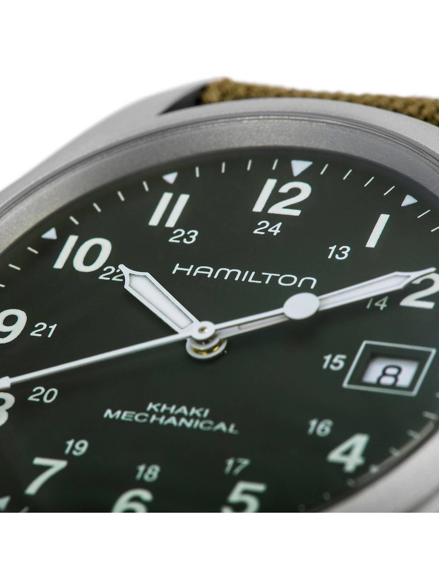 Hamilton H69419363 Men S Khaki Field Officer Handwinding Date Fabric