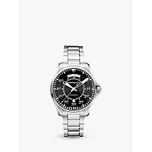 Buy Hamilton H64615135 Men's Khaki Aviation Pilot Day Date Automatic Bracelet Strap Watch, Silver/Black Online at johnlewis.com