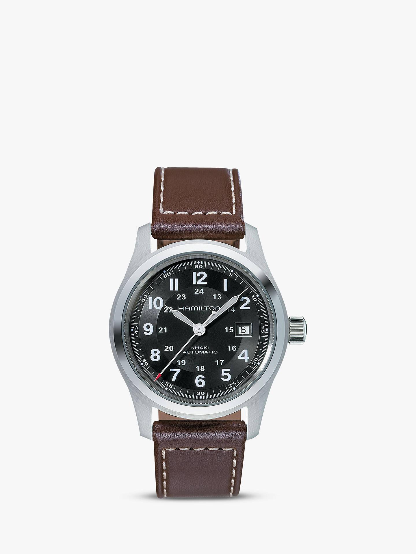Hamilton H70555533 Men S Khaki Field Automatic Date Leather Strap Watch Dark Brown Black