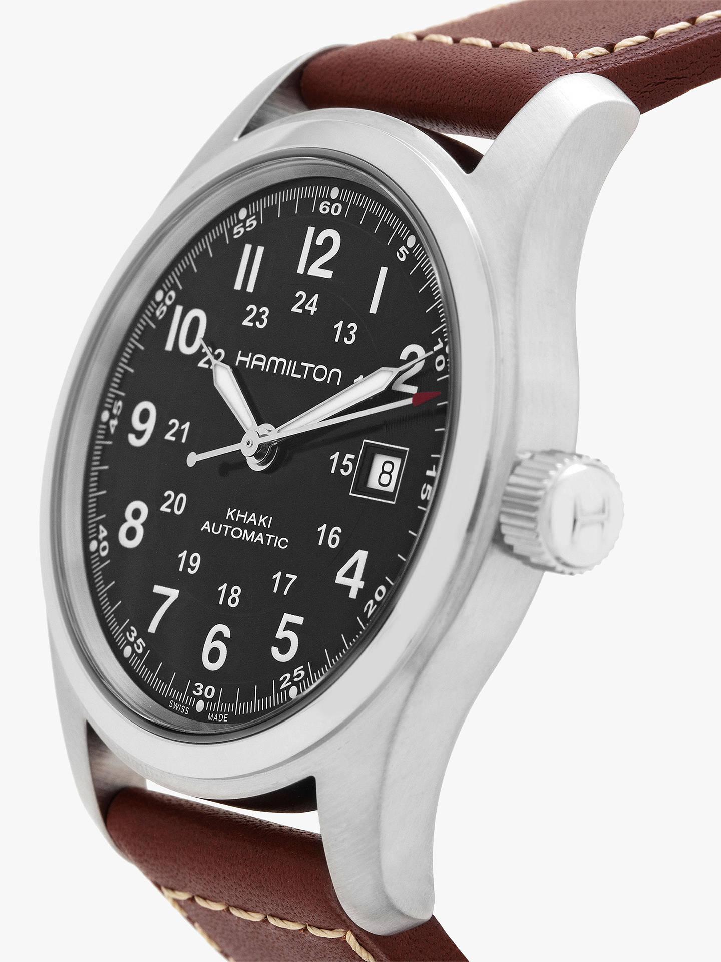 15fdfe3aa ... Buy Hamilton H70555533 Men's Khaki Field Automatic Date Leather Strap  Watch, Dark Brown/Black ...