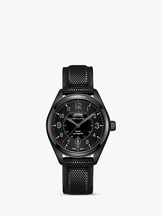 9819e2c689e1 Hamilton H70695735 Men s Khaki Field Day Date Automatic Rubber Strap Watch