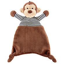 Buy Jellycat Baby Stripey Monkey Soother Soft Toy, One Size, Brown Online at johnlewis.com