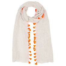 Buy Jigsaw Pom Pom Edge Scarf, Orange Online at johnlewis.com