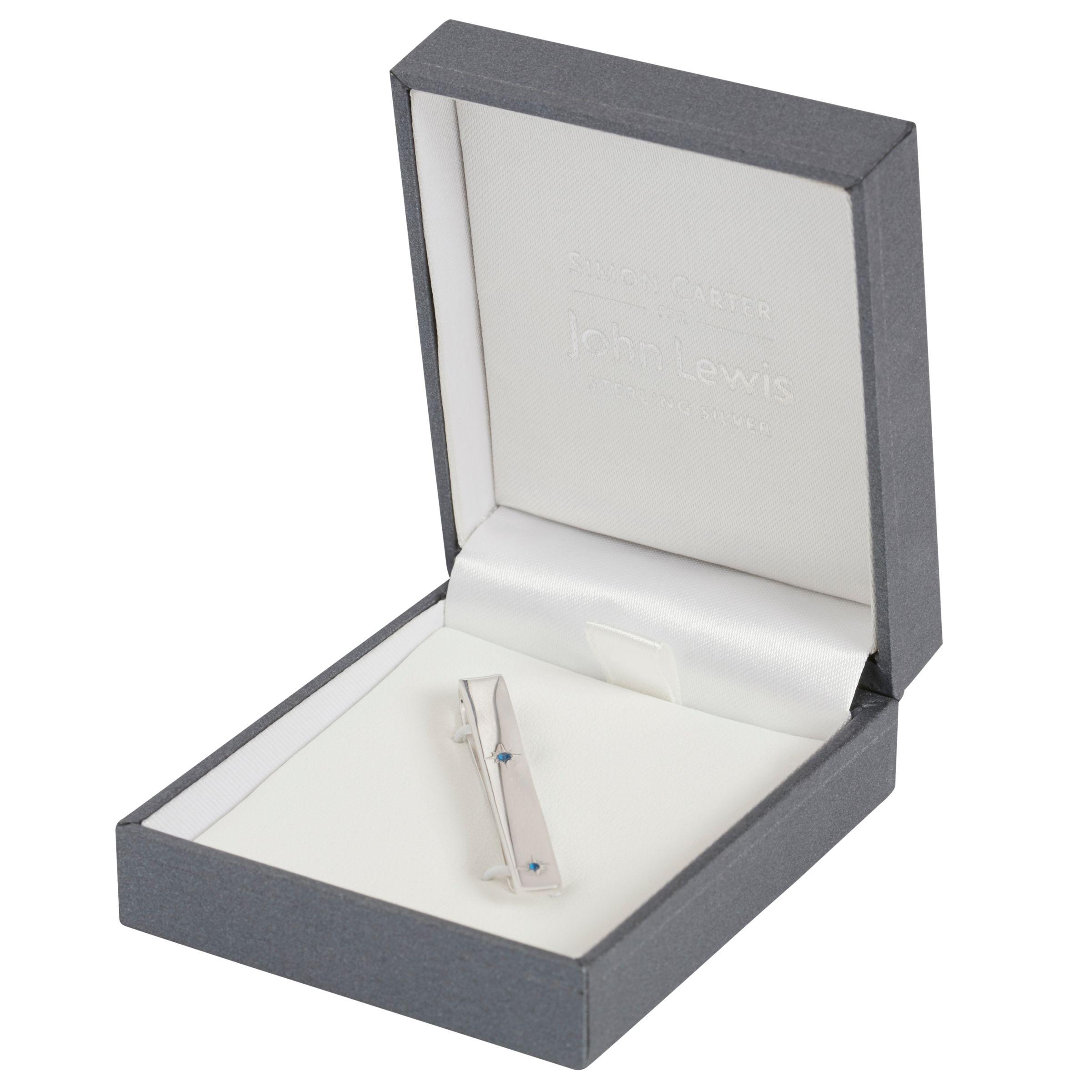 Simon Carter Simon Carter for John Lewis Sterling Silver Sapphire Tie Clip, Silver