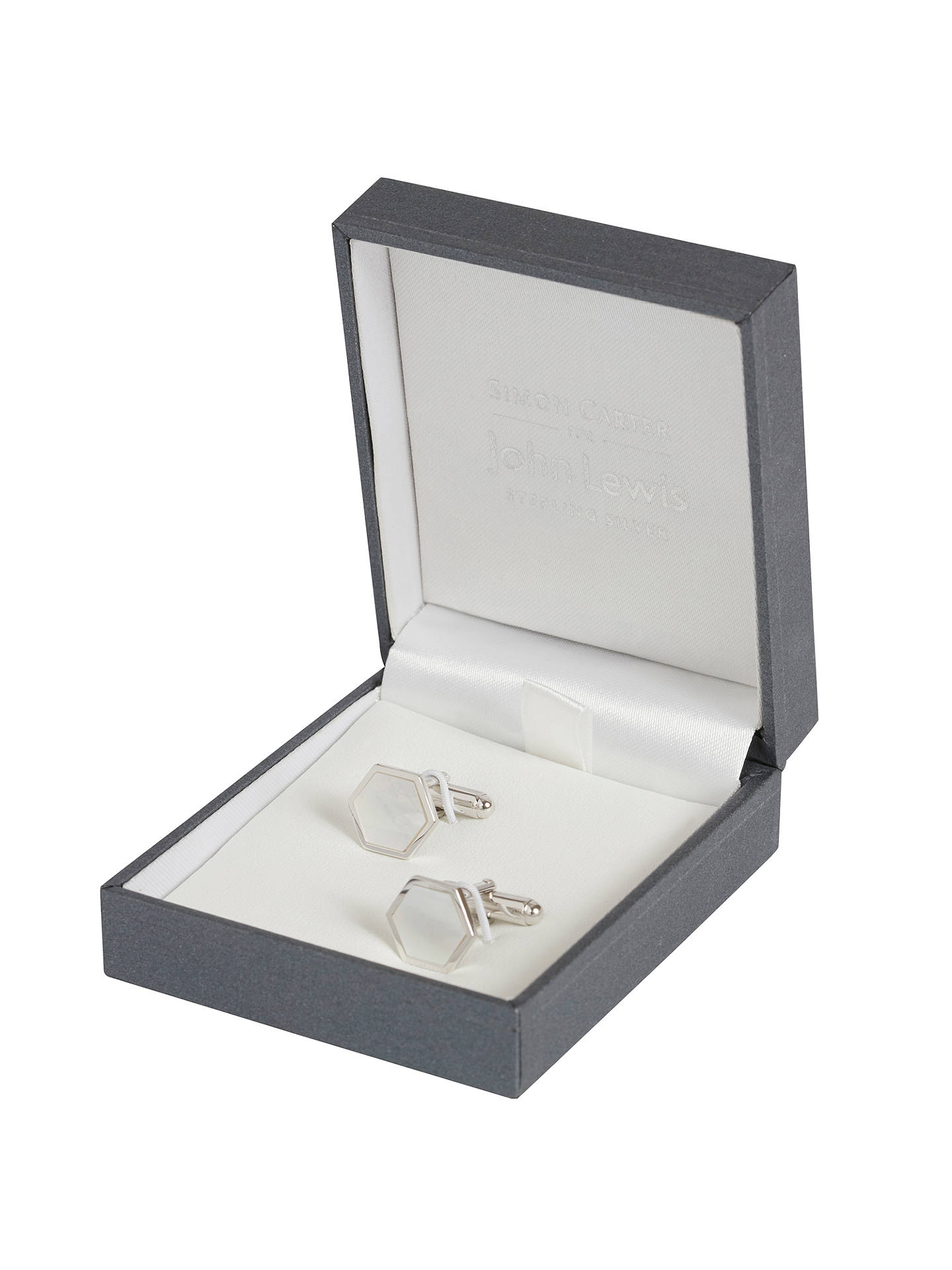 BuySimon Carter for John Lewis Hexagonal Sterling Silver Mother of Pearl Cufflinks, Silver Online at johnlewis.com