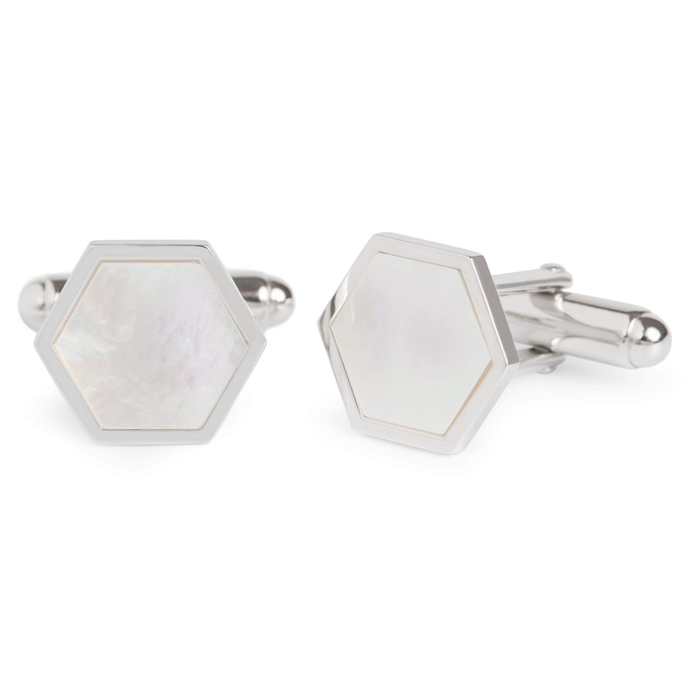 Simon Carter Simon Carter for John Lewis Hexagonal Sterling Silver Mother of Pearl Cufflinks, Silver