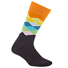 Buy Happy Socks Faded Diamond Socks, One Size, Black/Orange Online at johnlewis.com