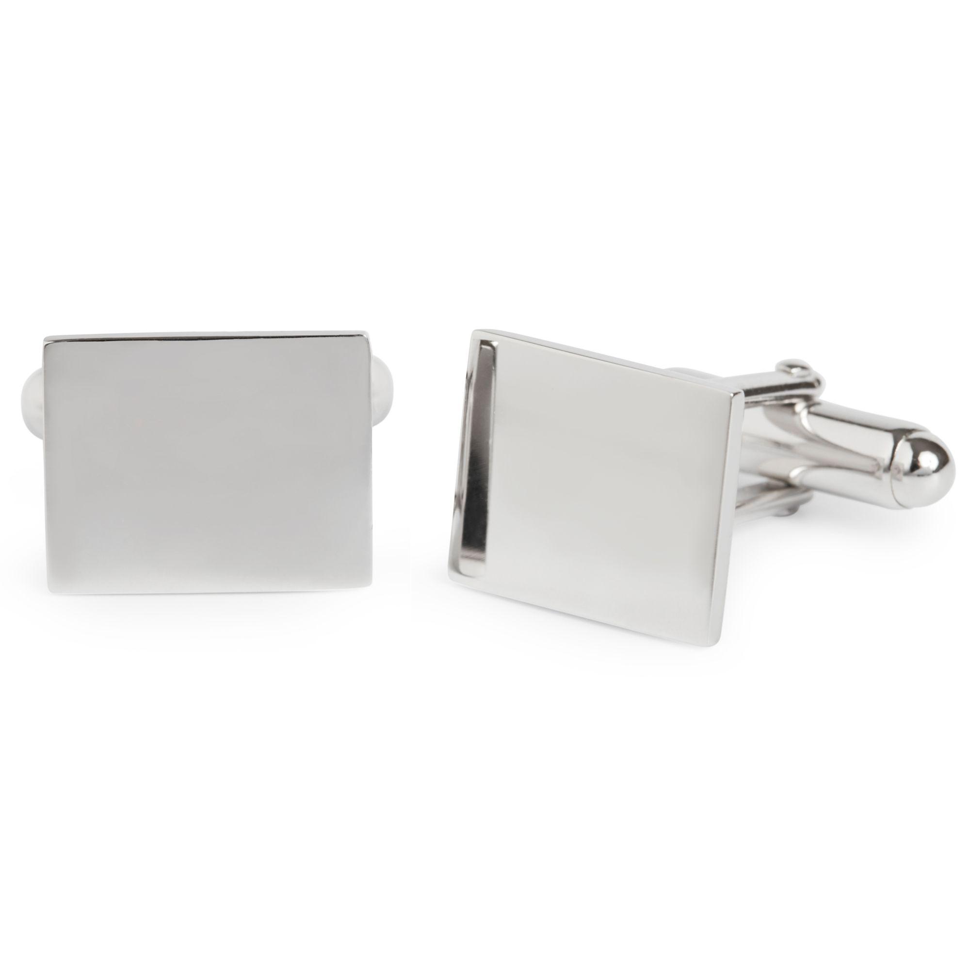 Simon Carter Simon Carter for John Lewis Sterling Silver Plain Rectangle Cufflinks, Silver