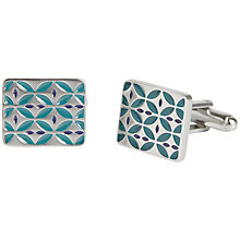 Buy Simon Carter West End Retro Enamel Cufflinks, Teal Online at johnlewis.com