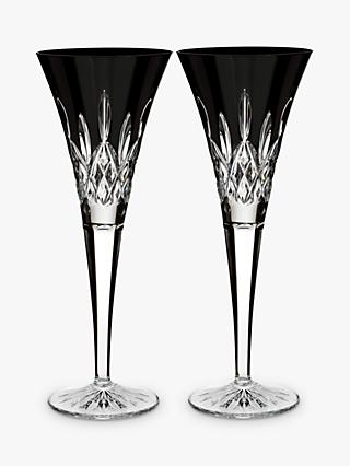 Waterford 'Lismore Pops' Cut Crystal Toasting Flute, Set of 2, 160ml, Black
