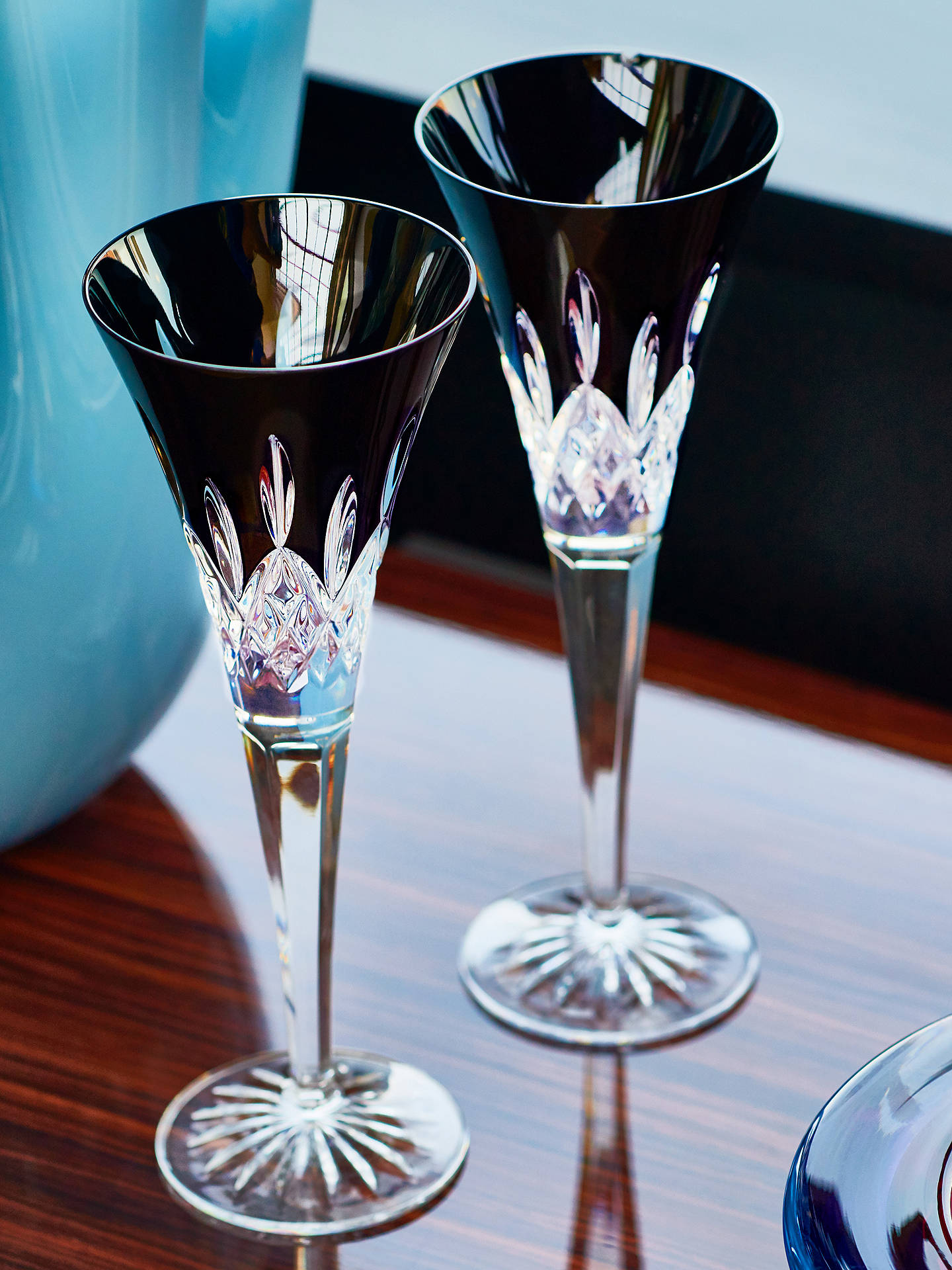 Buy Waterford 'Lismore Pops' Cut Crystal Toasting Flute, Set of 2, 160ml, Black Online at johnlewis.com