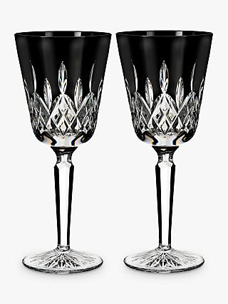 Waterford Black Tall Cut Crystal Glass Goblet, Set of 2