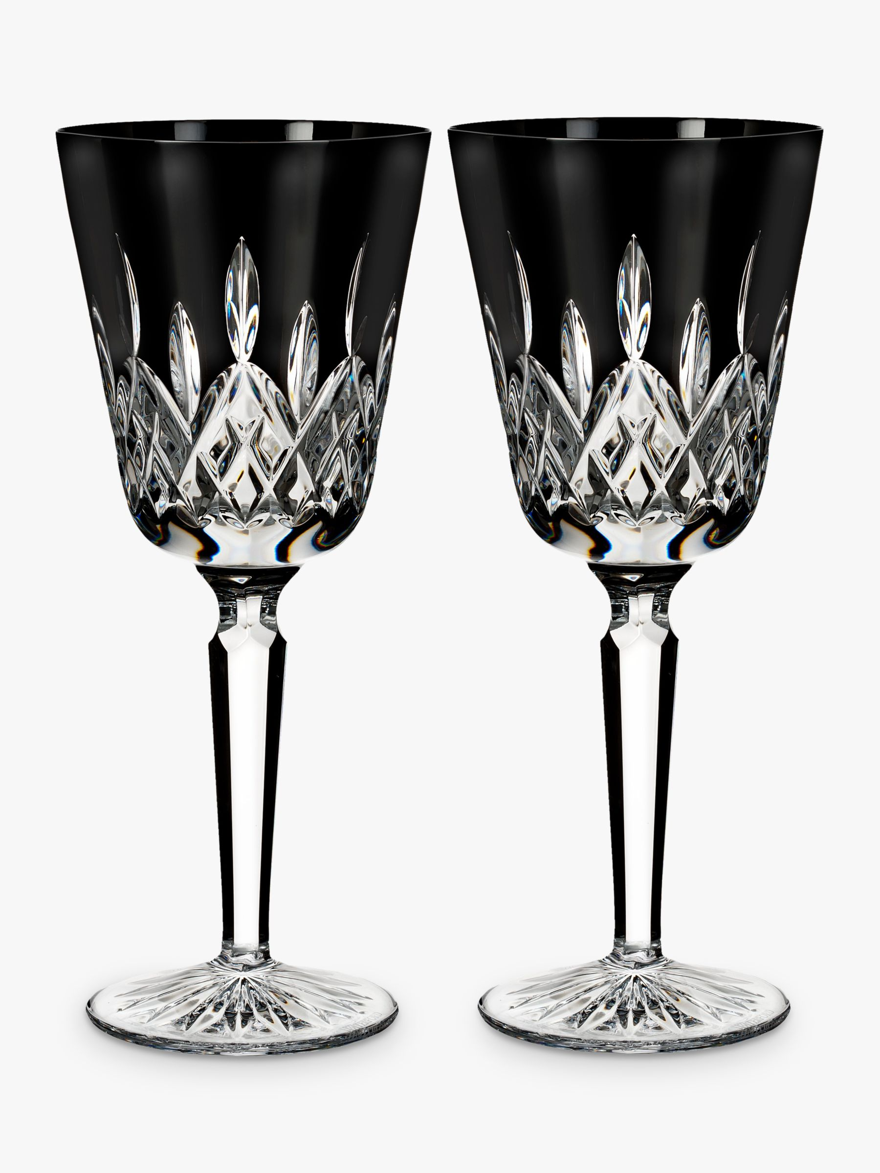 Waterford Waterford Black Tall Cut Crystal Glass Goblet, Set of 2