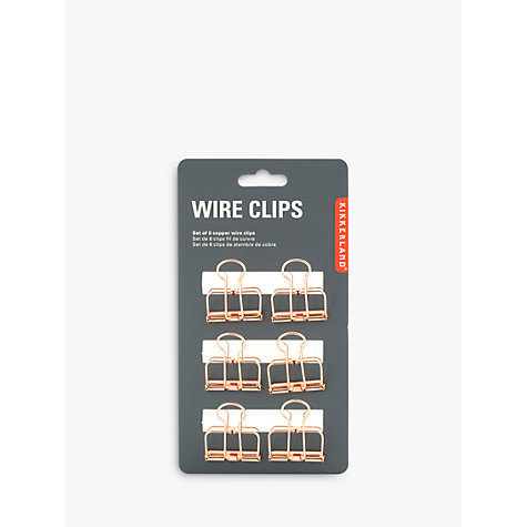 Buy Kikkerland Wire Copper Clips, Set of 6 | John Lewis