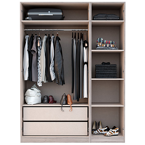 ... Buy House By John Lewis Mix It T Bar Handle Triple Wardrobe With  Central Mirror ...