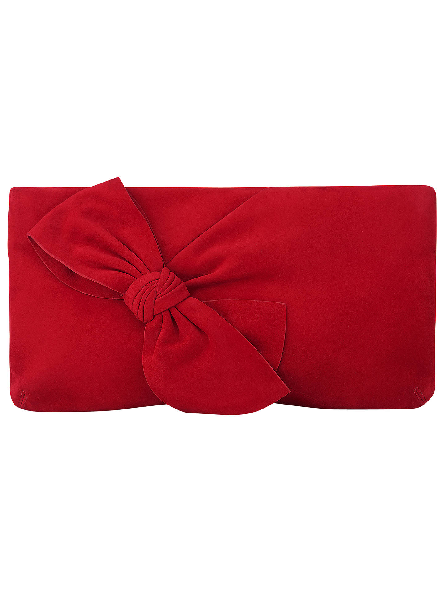 5e3cfe890f6 Buy L.K. Bennett Fay Bow Clutch Bag, Roca Red Suede Online at johnlewis.com  ...