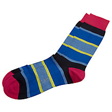 Buy Ted Baker Block Stripe Socks, One Size, Blue/Multi Online at johnlewis.com