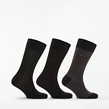 Buy Calvin Klein Birdseye Rib Socks, One Size, Pack of 3, Black Online at johnlewis.com