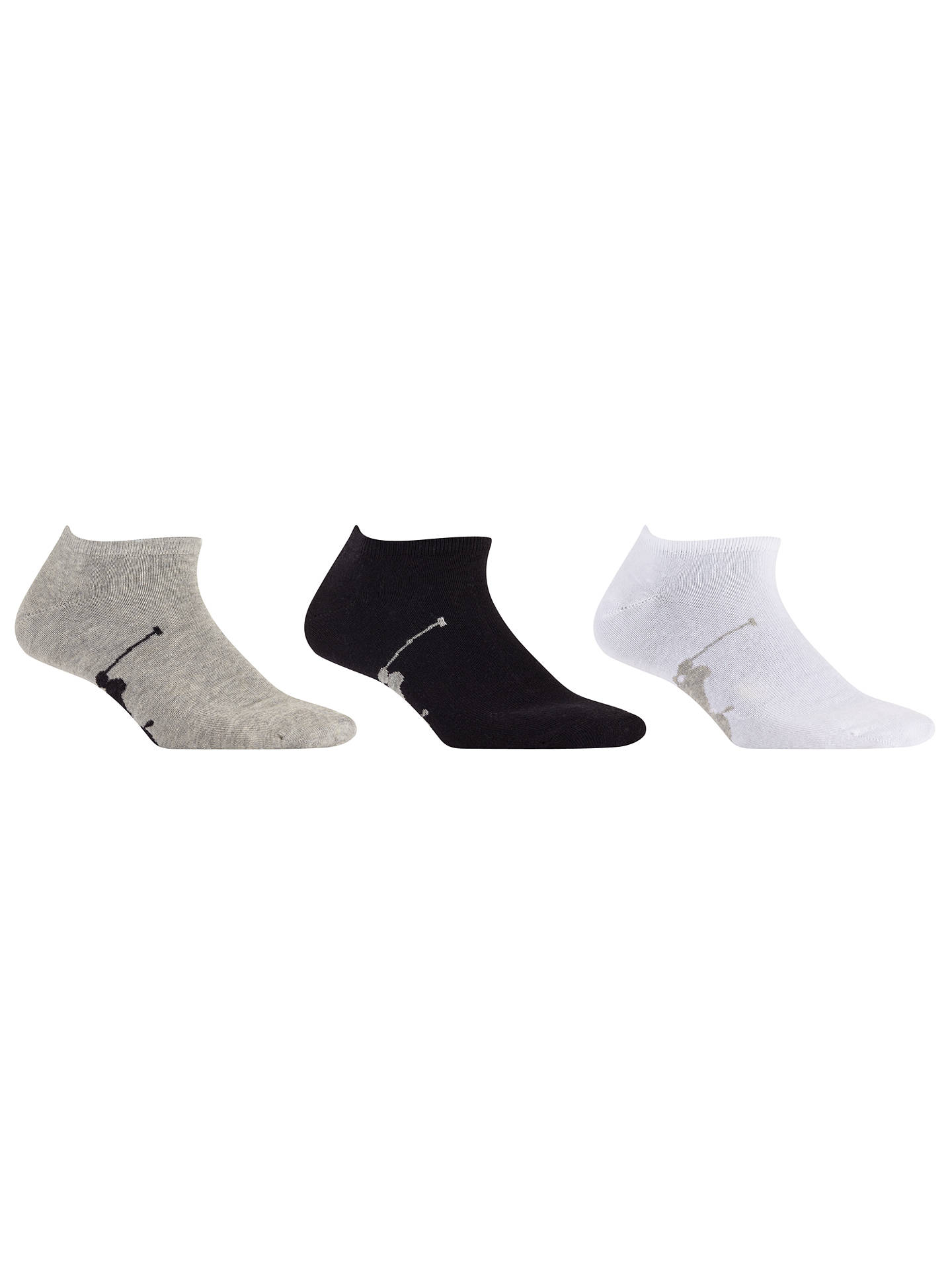 BuyPolo Ralph Lauren Trainer Socks, One Size, Pack of 3, White/Grey/Black Online at johnlewis.com