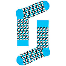 Buy Happy Socks Basket Weave Socks, One Size, Blue Online at johnlewis.com