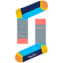 Buy Happy Socks Half Stripe Cotton Mix Socks, One Size Online at johnlewis.com