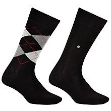 Buy Burlington Argyle Plain Short Socks, One Size, Pack of 2, Black Online at johnlewis.com