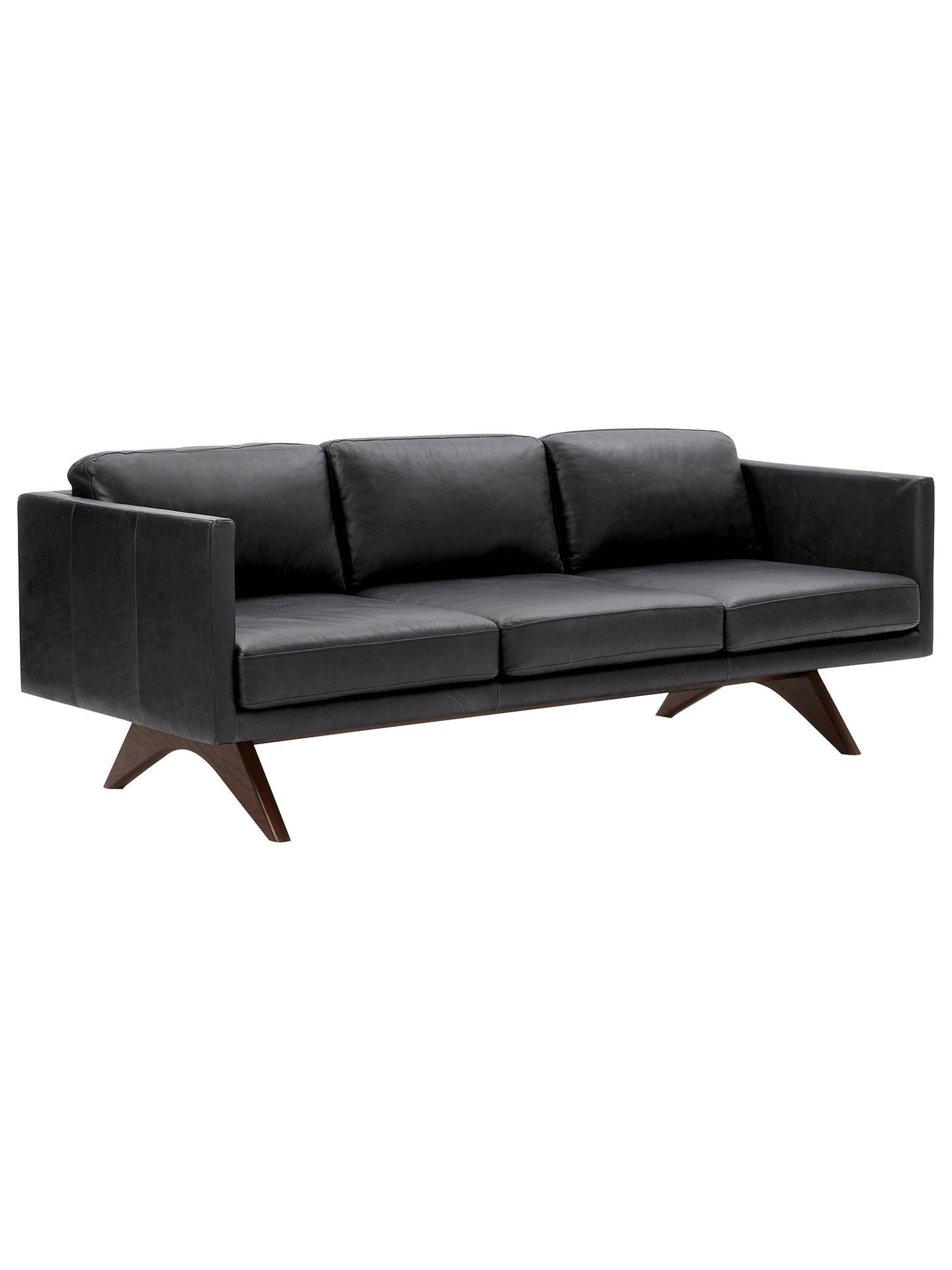 Buywest Elm Brooklyn Leather 3 Seater Sofa, Liquorice Online At  Johnlewis.com ...