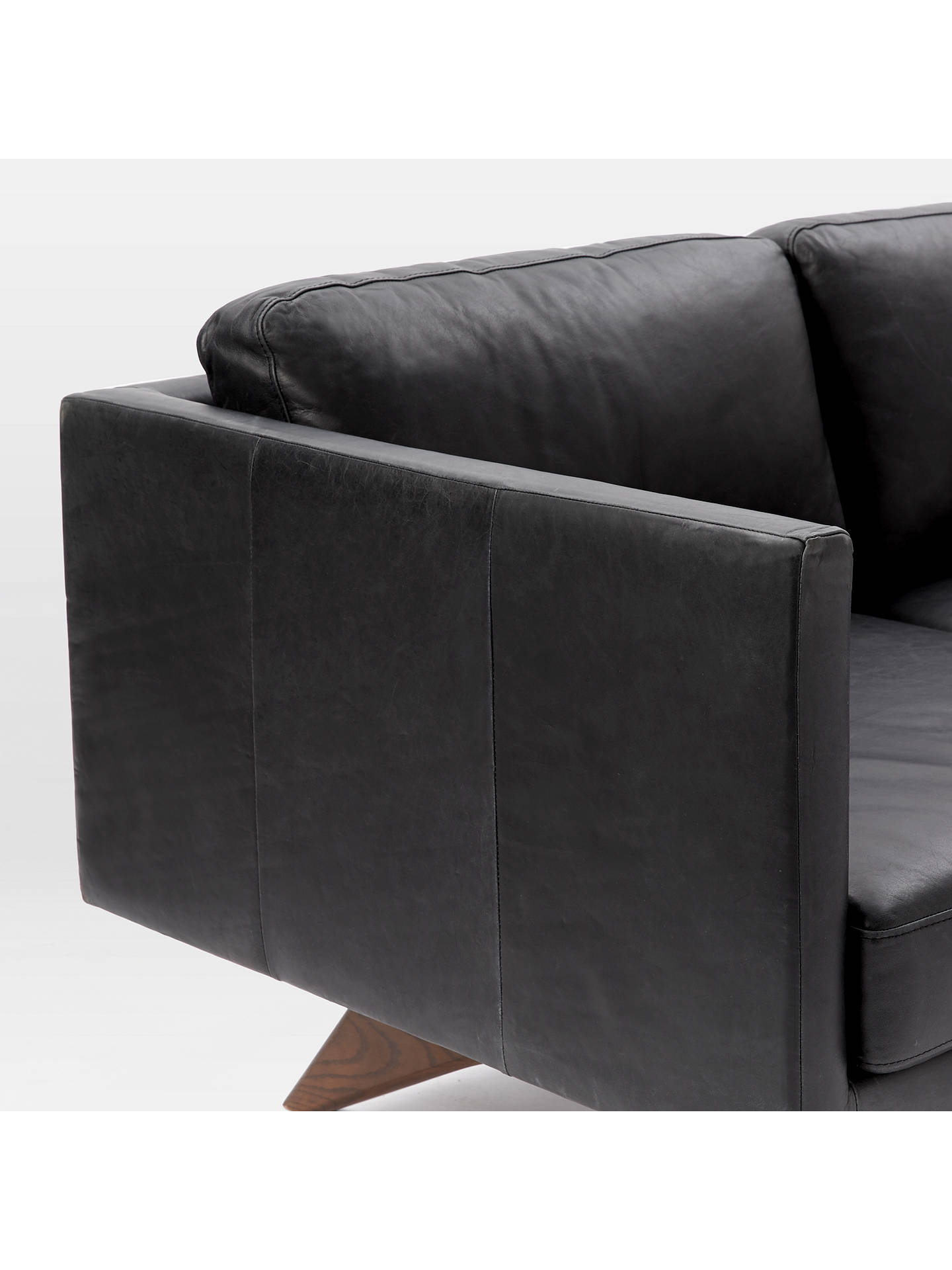 West Elm Brooklyn Leather 3 Seater Sofa Liquorice At John Lewis