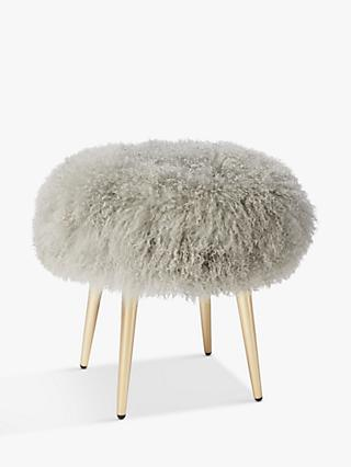 west elm Mongolian Lamb Stool, Platinum
