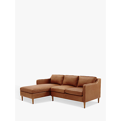 west elm Hamilton Leather Sectional Right Loveseat LHF Chaise Sofa