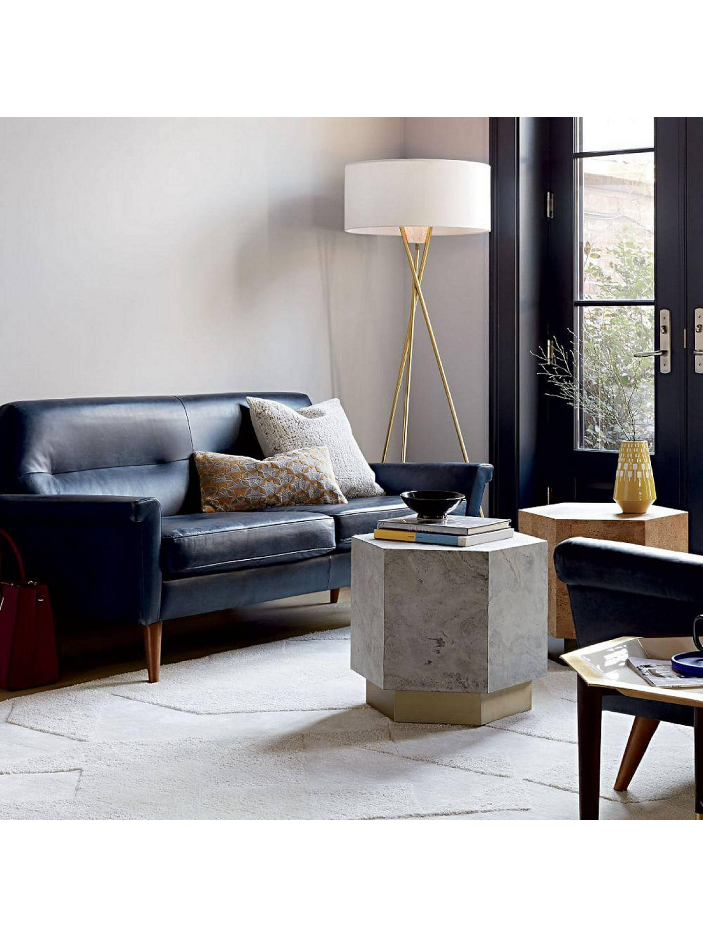 Marvelous West Elm Denmark Leather Loveseat Navy At John Lewis Partners Unemploymentrelief Wooden Chair Designs For Living Room Unemploymentrelieforg