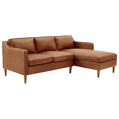 west elm Hamilton Leather Sectional Left Loveseat RHF Chaise Sofa