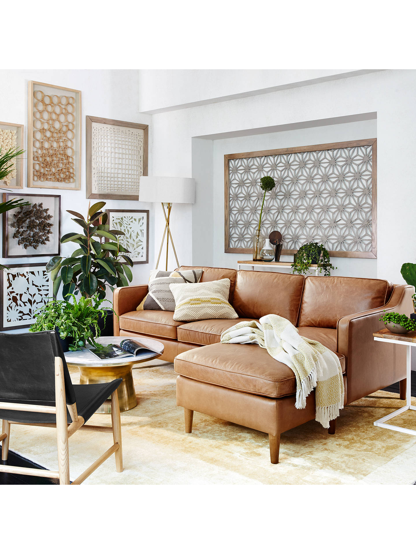 West Elm Hamilton Leather Sectional Left Loveseat Rhf Chaise Sofa Online At Johnlewis
