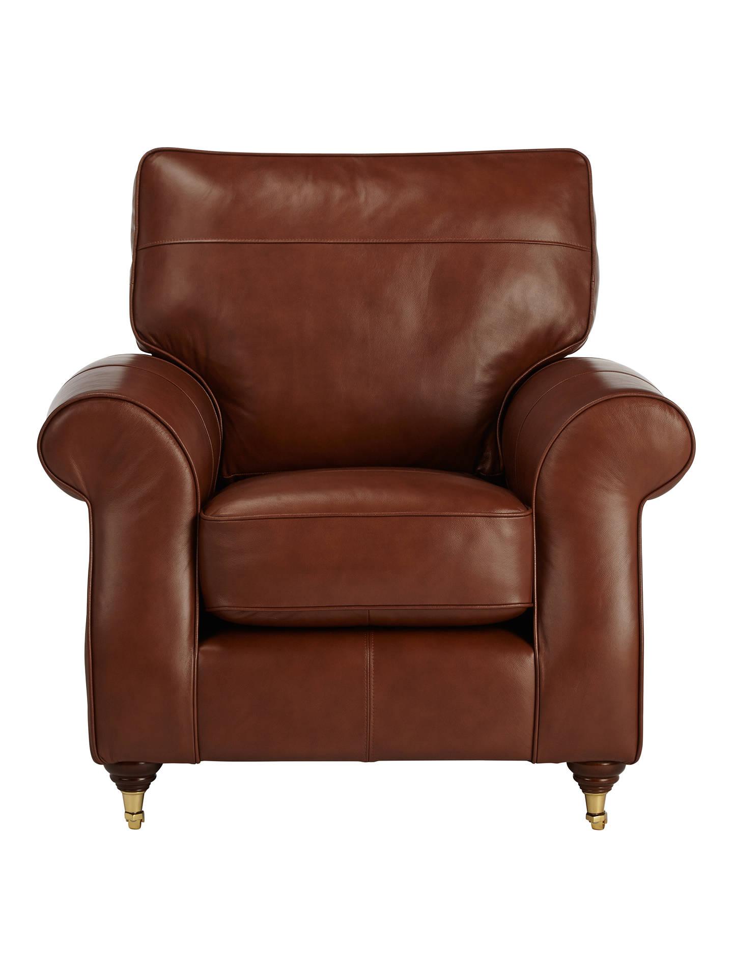 John Lewis Hannah Leather Armchair, Castor Leg at John ...