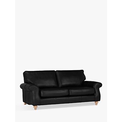 John Lewis Hannah Large 3 Seater Leather Sofa, Light Leg
