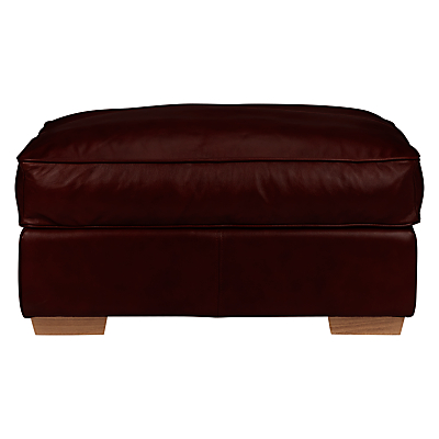 John Lewis Leon Leather Footstool, Light Leg