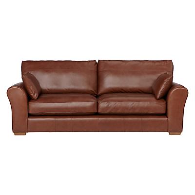 John Lewis Leon Grand 4 Seater Leather Sofa, Light Leg