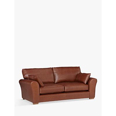 John Lewis Leon Large 3 Seater Leather Sofa, Light Leg