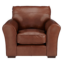 Buy John Lewis Leon Leather Armchair, Dark Leg Online at johnlewis.com