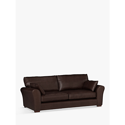 John Lewis Leon Grand 4 Seater Leather Sofa, Dark Leg