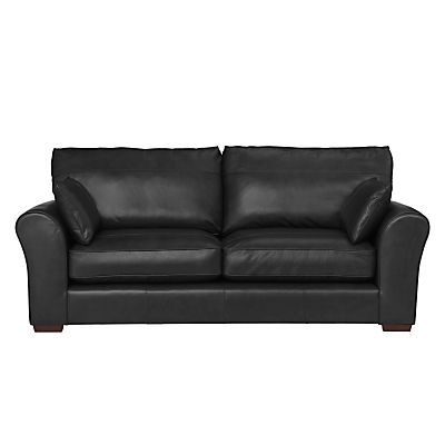 John Lewis Leon Large 3 Seater Leather Sofa, Dark Leg