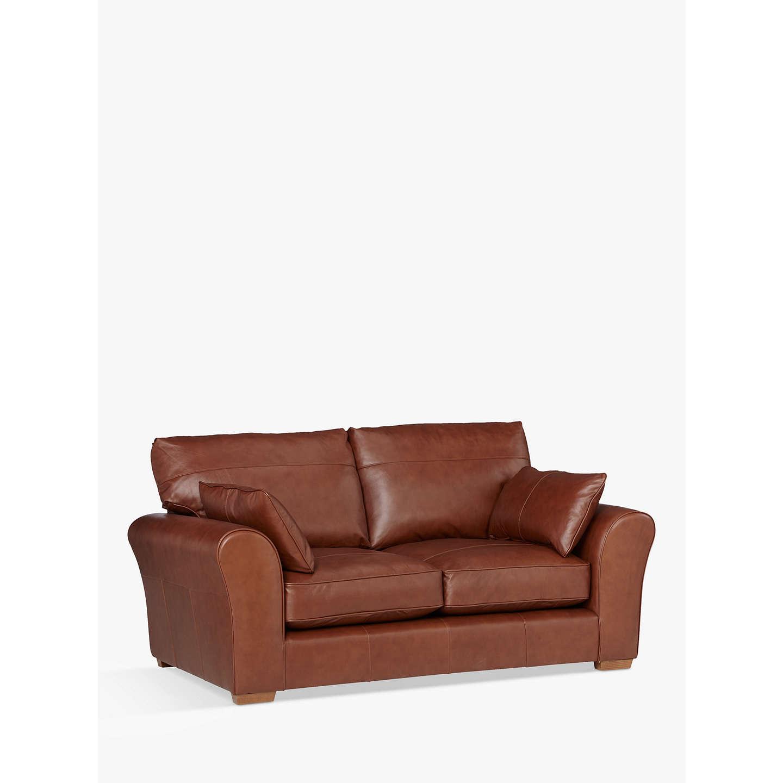 John lewis leon medium 2 seater leather sofa dark leg at for Leather sofa 7 seater