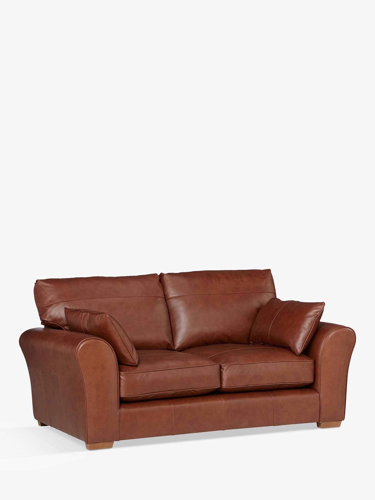 John Lewis Leon Medium 2 Seater Leather Sofa Dark Leg Contempo Castanga Online At