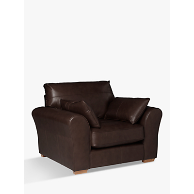 John Lewis Leon Leather Armchair, Light Leg