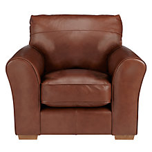 Buy John Lewis Leon Leather Armchair, Light Leg Online at johnlewis.com